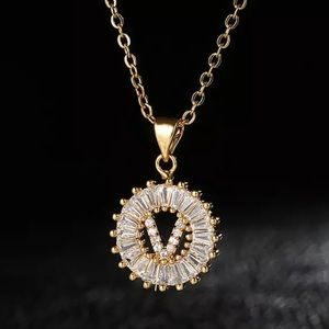 Gold Initial Crystal Sparkly Pendant Necklace A-Z